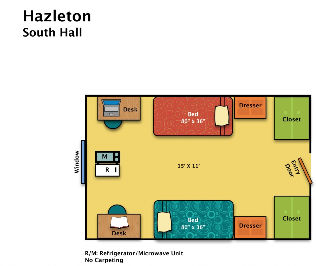 Residence halls hazleton housing food services for Area of a floor plan