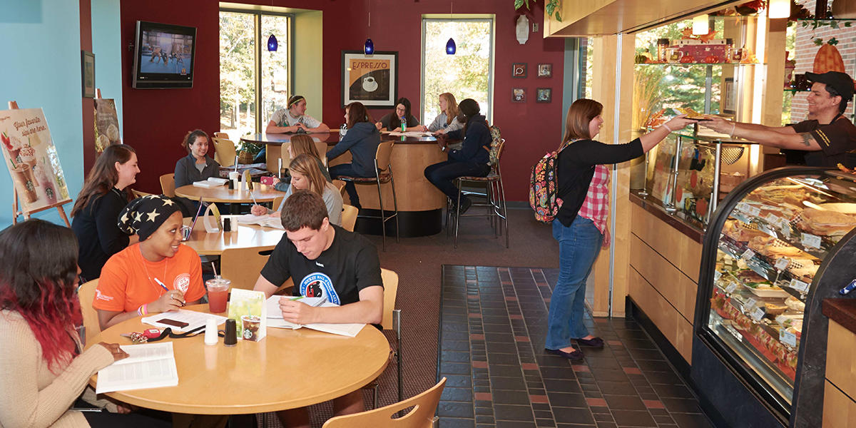 An interior view of Higher Grounds Coffee Shop at Penn State Hazleton