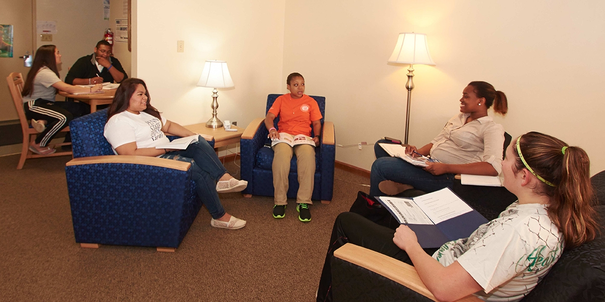 A group of students study together in West Hall at Penn State Hazleton